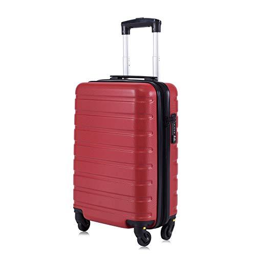 """Toctoto Bagaglio a Mano Espandibile con Lucchetto TSA (18"""" 38LT 52x33x20cm), Adatto Per Voli Low Cost Bagaglio Da Cabina Ryanair, Vueling, Wizz Air (18""""(52cm-38L)-Rosso)"""