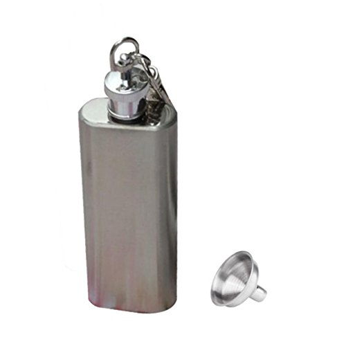 Clode® Mini Flachmann Hip Flask Edelstahl Silber 2oz,mit Schlüsselanhänger (Enthält trichter) (Mini Flachmann Schlüsselanhänger)