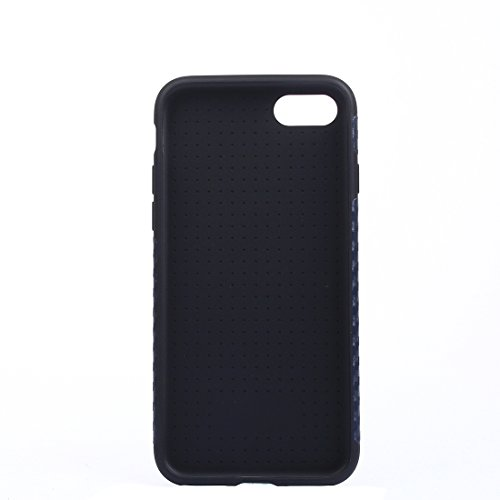Hülle für iPhone 7 plus , Schutzhülle Für iPhone 7 Plus Carbon Fiber Texture Soft PU Schutzhülle Back Cover? ,hülle für iPhone 7 plus , case for iphone 7 plus ( Color : Black ) Dark Blue
