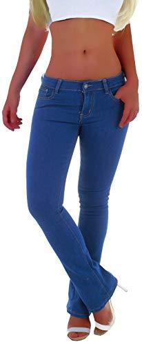 Damen Bootcut Jeans, Schlaghose in Blau, Hüftjeans Tiefsitzend Schlagjeans Weites Bein Stretch XS 34 S 36 M 38 L 40 XL 42 Schlaghosen ausgestelltes Bein Breiter Bund Hellblau Denim Low Waist Rise