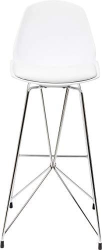 Kare Design Barhocker Wire White, moderner, massiver Design-Tresenstuhl mit Rücklehne, Bar Stuhl, weißer Barstuhl, mattweiß-Silber, Chromgestell, (H/B/T) 104x40x49cm