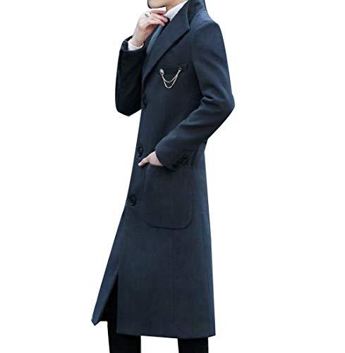 CuteRose Men Single Breasted Slim-Fit Mid Long Woolen Coat Trench Coat Outwear Dark Grey L