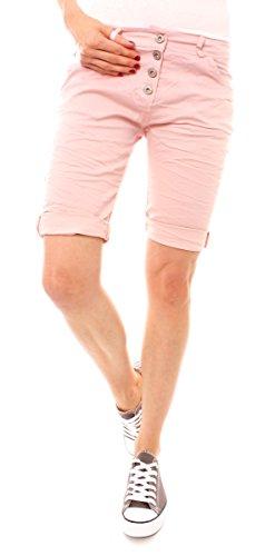 Easy Young Fashion Damen Bermudas mit Knopfleiste uni Rosa
