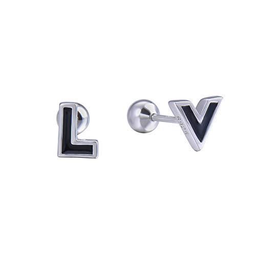 Damen Ohrringe Schwarz LV Ohrstecker Kugel Barbell Helix Piercing 925 Sterling Silber Mode, Allergenfrei Nickelfrei,Kostenlose Lieferung ZENIJEWELRY