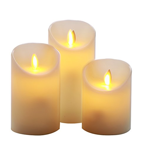 (Homemory 3 led Flammenlose kerzen mit beweglicher Flamme, Elektrische Flackernde Batteriebetriebene Wachs Kerzen, Led Votivkerzen Gelb 10cm x 12cm x 15cm Höhe 7,5 cm Durchmesser)