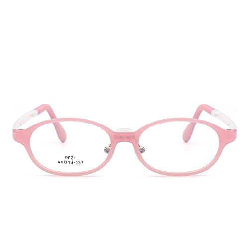 JIM HALO Kinder Brille Optisch TR Rahmen Gläser Mädchen Jungen Nicht-Verschreibung Klar Linse(Rosa/Klar)