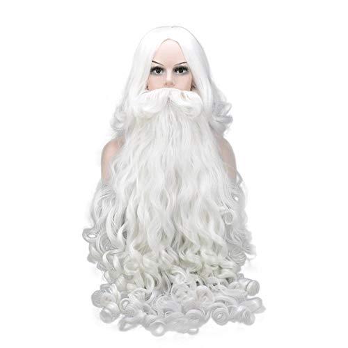 Perückelanges Haarlockiges HaarWeihnachtsperückeSanta ClausBartweiß