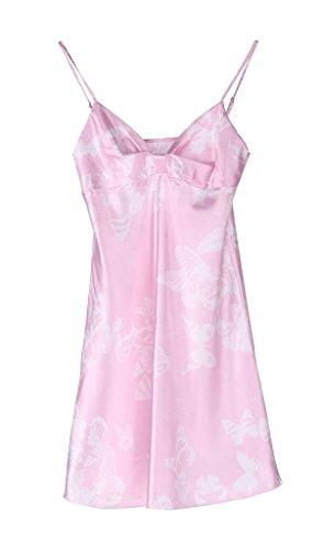 Smile YKK Robe de Nuit Femme Imitation de Soie Sexy Babydoll Nuisette Souple Rose