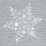 48 Servietten Weihnachten Gruppe kleiner Sterne auf Silber My Xmas star Silber, 33 x 33 cm Lunchservietten, Tissue, Napkin, 3 lagig, Papierservietten, Markenservietten, Anlass, Party, Event, Gastro, Advent