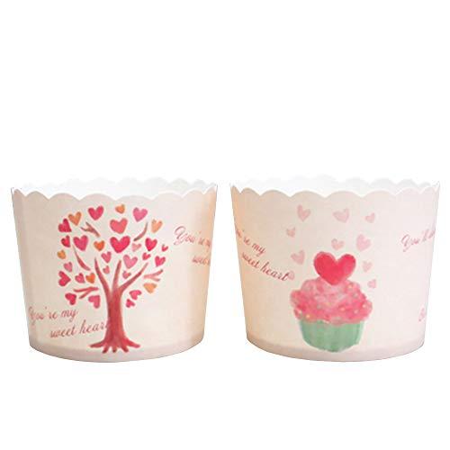 Beiersi Cupcake Formen Muffin Förmchen Papier Cupcake Wrappers Backen Tassen Liner Muffin Foermchen Cupcake Papier Backen Muffin Cups 20 Stück Dekor Hochzeit Party (Hell-Pink)