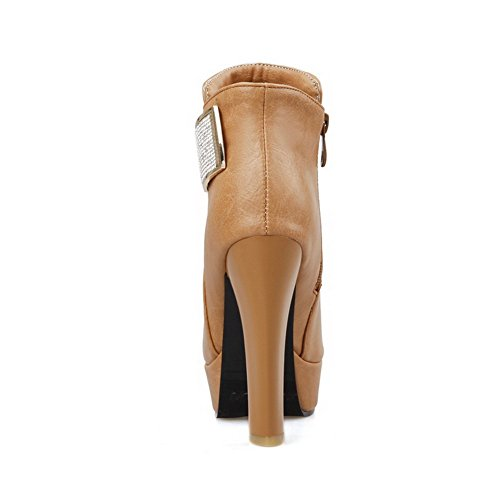 AgooLar Damen Rund Zehe Hoher Absatz Blend-Materialien Knöchel Hohe Rein Stiefel Gelb