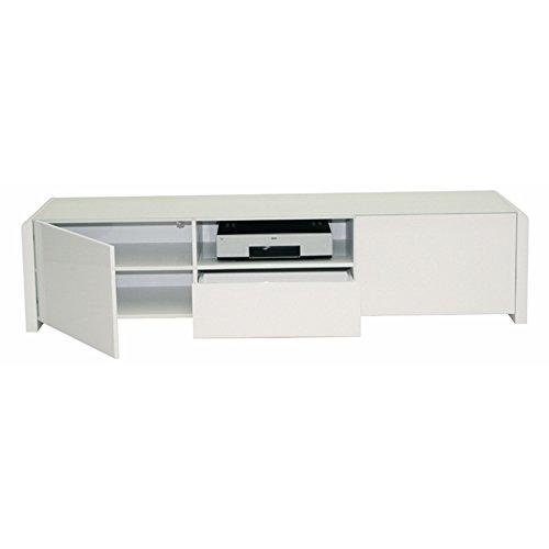 LEONARDO – Lowboard mit 2 Türen, 1 Schublade und 1 offenen Fach. Push-Open-Technologie in Weiss hochglanz - 2