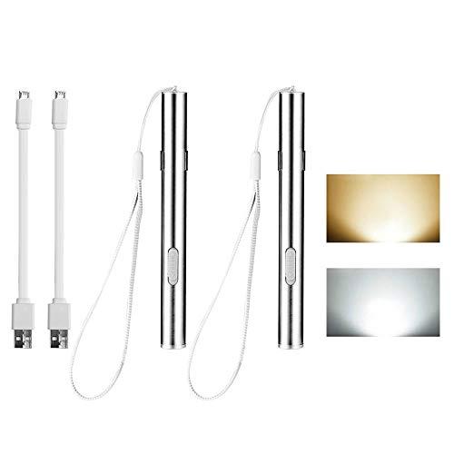 FOONEE Mini LED USB Aufladbare Taschenlampe von Pen Light Taschenlampe für Krankenschwestern Ärzte Medical (2Pack Weiß/Warm Weiß Edelstahl)