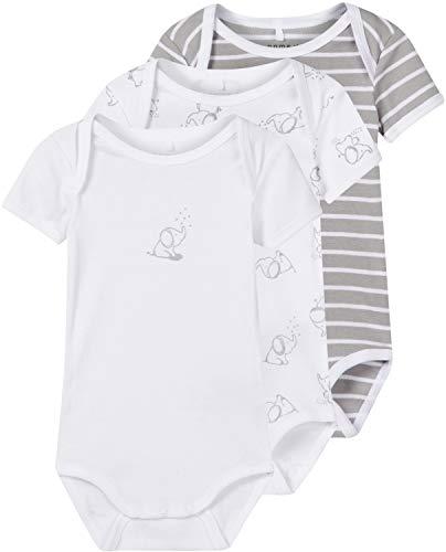 NAME IT Unisex Baby Strampler NBNBODY 3P SS NOOS, 3er Pack, Mehrfarbig (Alloy), 50
