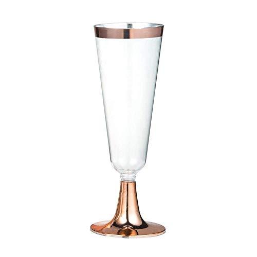 Alian Einweg-Becher für Rotweingläser/Champagnergläser, Kunststoff, 6 Stück Rose Gold