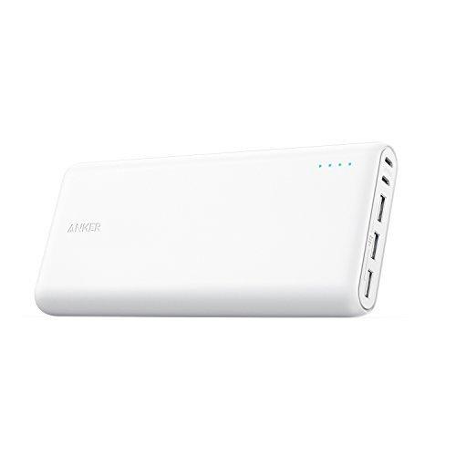Anker PowerCore 26800mAh Power Bank Externer Akku mit Dual Input Ladeport, Doppelt so Schnell Wiederaufladbar, 3 USB Ports für iPhone XR/XS/X / 8/7, iPad, Samsung Galaxy, und weitere(Weiß)