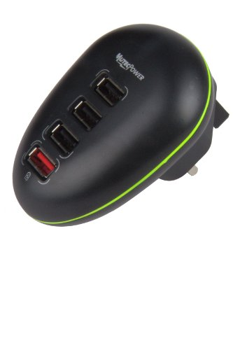 Mutec Power Spina UK 4-Porte Caricabatteria da viaggio USB adattatore, la stazione Viaggi & Muro di ricarica per ipad iphone e android smartphone, tablet e altri dispositivi USB caricato 12.5 Watt 5V 2.5A