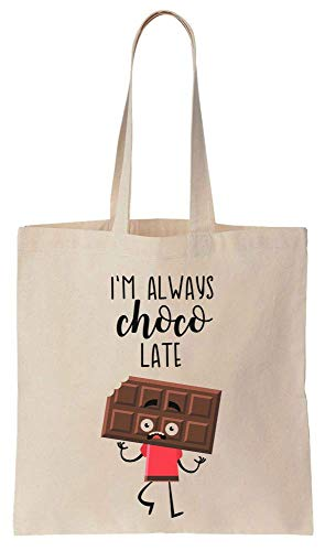 I'm Always Choco Late Scared Chocolate Bar Cotton Canvas Tote Bag (Pure Bar-chocolate Brownie)