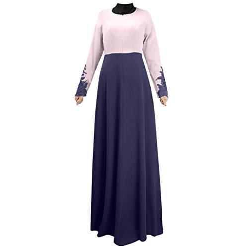 CUTUDE Muslim Lady Große Größe Stitching Lace Trumpet Sleeve Kleid Kostüm Damen Muslim Kleidung Sommer Lange Ärmel Ramadan Bluse Mittlerer Osten Saudi Arabisch Traditionell Kleidung (Blau, - Saudi Arabische Kostüm Frauen