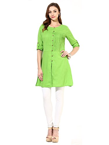 Kurti ( Shoponbit parrot green coloured Cotton Plain party wear kurti )