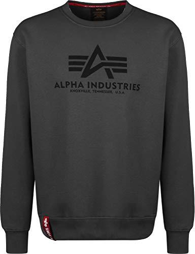 Alpha Industries Pullover Basic rot Olive schwarz weiß grau blau gelb (XL, GreyBlack/Black)