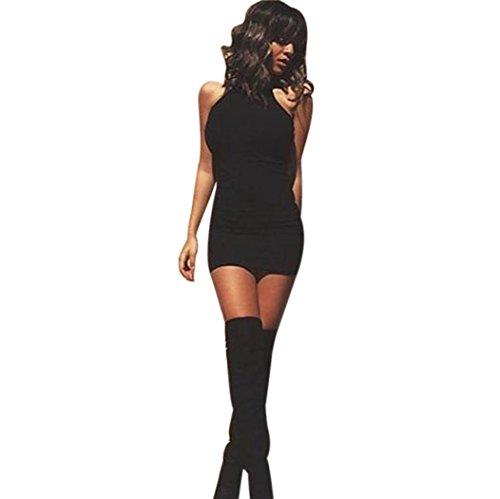 Elecenty Damen Schulterfrei Sommerkleid Knielang Kleider Solide Bandage Bodycon Maxikleid Kleid Cocktailkleider Rock Mädchen Frauen Ärmellos A-Linie Kleidung Partykleid (S, Schwarz) (Billig Damen Kleidung)