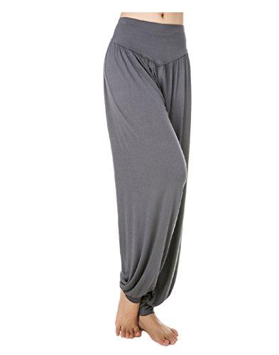 Baymate - Sarouels Pantalon Yoga Bouffant Modal pour Femme -Bloomer Elastique Extensible - Harem Pants Danse Pilates Sport Sombre Gris