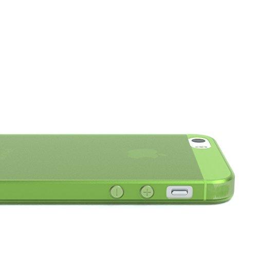 """EAZY CASE Handyhülle für Apple iPhone SE, iPhone 5S/5 Hülle - Premium Handy Schutzhülle Slimcover """"Clear"""" hochwertig und kratzfest - Transparentes Silikon Backcover in Klar / Durchsichtig Matt Grün"""