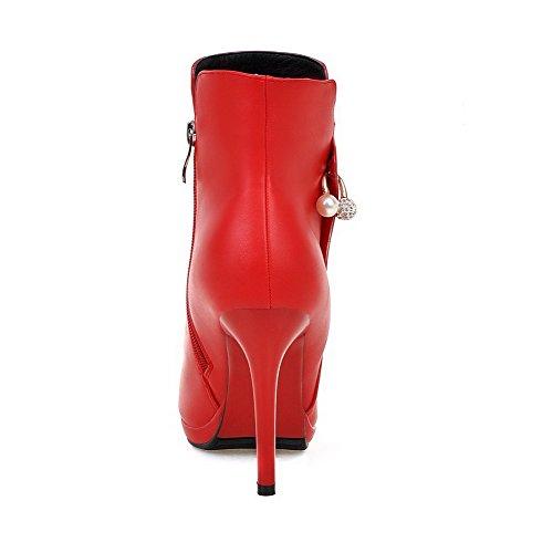 VogueZone009 Donna Bassa Altezza Puro Cerniera Scarpe A Punta Tacco A Spillo Stivali Rosso