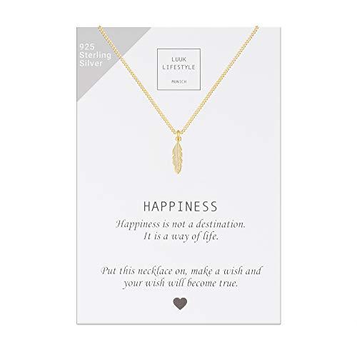 LUUK LIFESTYLE Sterling Silber 925 Halskette mit Feder Anhänger und Happiness Spruchkarte, Glücksbringer, Damen Schmuck, gold