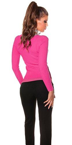 Fashion - Pull - Uni - Manches Longues - Femme Taille Unique rose bonbon