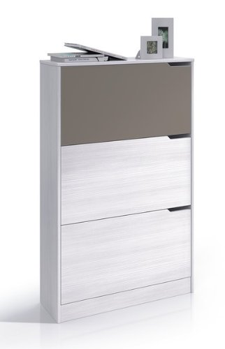 Habitdesign 00S878K - Zapatero 3 puertas, color Blanco Line y Basalto, medidas 120 x 75 x 24 cm de fondo