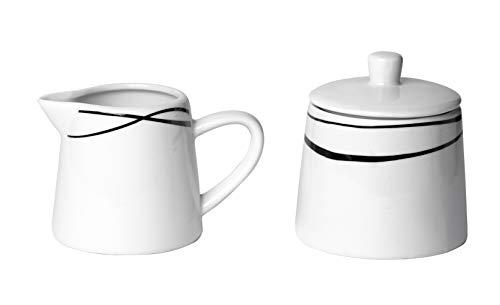 Mäser 991365 Serie Oslo, Zuckerdose und Milchkännchen Set, klassisch, zeitlos, elegant, Porzellan, schwarz-weiß