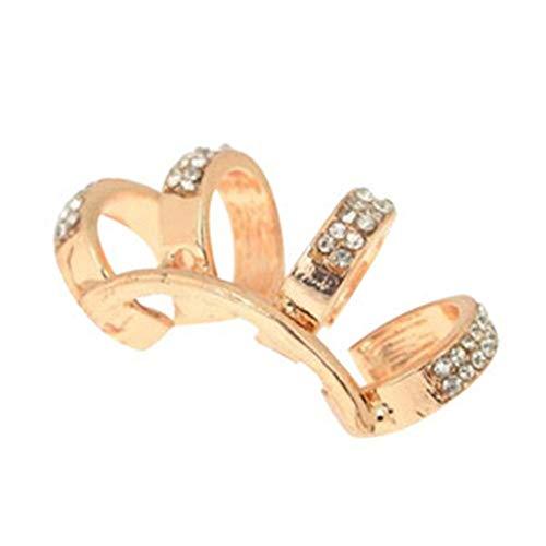 Damen Ohrringe 1 Stück Ohrringe Vierbett Ohr Plain Ear Cuff Ring - - Kein Ohrloch (Gold) für Damen (Color : Gold) (Plain Cuff Ear)