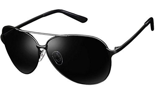 Blasea Herren UV400 Metallrahmen Aviator 64mm polarisierte Sonnenbrille 8009 Schwarz