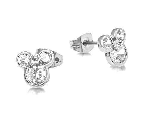 Disney–Pendientes con cierre de mariposa chapados en plata con cristales, diseño de la cabeza de Mickey Mouse