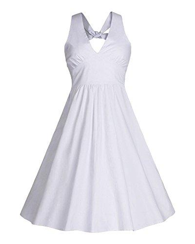 Vestito Donna 1950 Vintage con Allacciatura al Collo di Cocktail Retro Abito Bianca