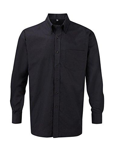 Russell Collection! Pflegeleichtes Langarm Oxford Hemd auch in Übergrößen XXL / 45/46 / 18,Schwarz