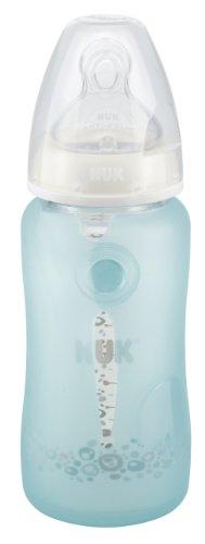 NUK 10256333 Silikonschutz für Glasflaschen, schützt bei Rissen und Splittern, für NUK 240 ml Glasflaschen, BPA-frei, hellblau