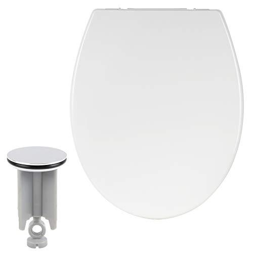 Toilettensitz mit Absenkautomatik, mit Kindersitz, aus Duroplast, WC Sitz Softclose Scharnier, Antibakteriell, Waschbeckenstöpsel Set
