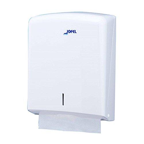 Jofel AH33000 - Dispensador de toallas formato zig-zag, admite 600 toallas, color blanco