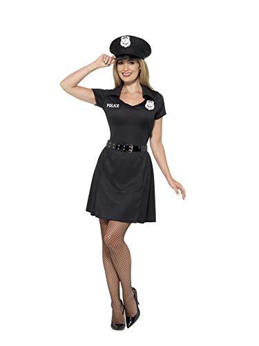 (Smiffys 45505S - Damen Polizei Kostüm, Kleid, Hut und Gürtel, Größe: 36-38, schwarz)