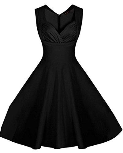 Lukis Damen Vintage V-Ausschnitt Abenkleid Festlich Partykleid Schwarz