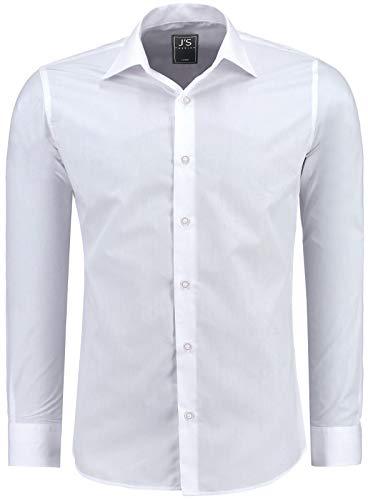 J'S FASHION Herren-Hemd - Slim-Fit - Bügelleicht - EU Größen: S bis 6XL - Weiß S