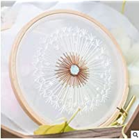 Gnognauq Embroidery Kits for Beginners Fairy Dandelion Patterns with English Instructions, Color Pattern Cloth, 13cm Bamboo Hoop, Threads and Tool Kits