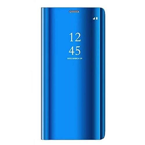 Alsoar®Coque Samsung Galaxy A7 2018, Cover 360 °de Protection Intelligente Vue Claire Miroir De Electroplate Placage Kickstand Caractéristique Flip Housse pour Samsung A7 2018 (Bleu Royal)
