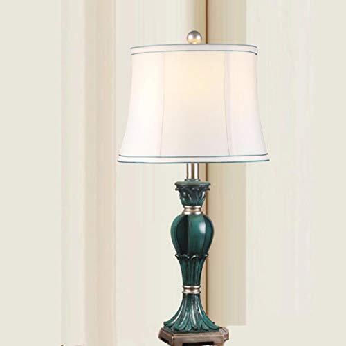 FKYGDQ Mediterrane Tischlampe Schlafzimmer Nachttischlampe/Wohnzimmer Dekoration Lampe/Stoff Tischlampe Dimmbar Tischlampe