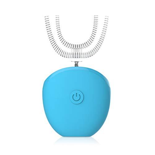 Silikon Elektrische Zahnbürste, Automatisch Ultraschall zahnbürste Tiefenreinigung Zahnaufhellung IPX7 wasserdicht Drahtloses Laden,Blue