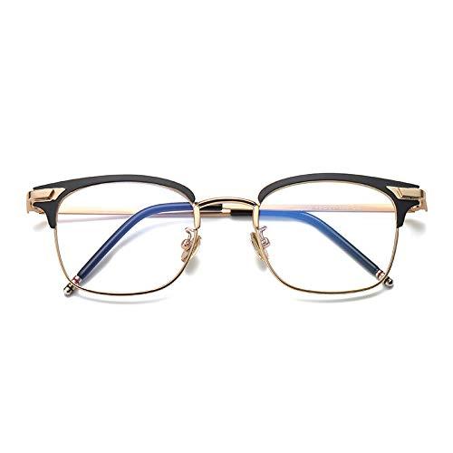 YMTP Quadratische Männer Brillen Rahmen Edelstahl Männer Grad Brille Rahmen Klar Kurzsichtige Gläser Rahmen, Schwarz Gold
