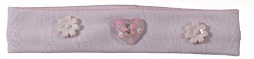 Bandeau Cheveux pour Enfant en Textile et Plastique - Fleur Coeur Papillon - Rose Pale/Blanc